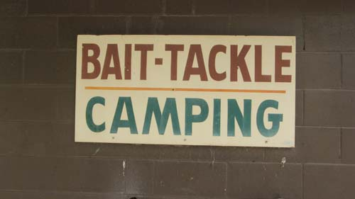 Bait tackle camping sign